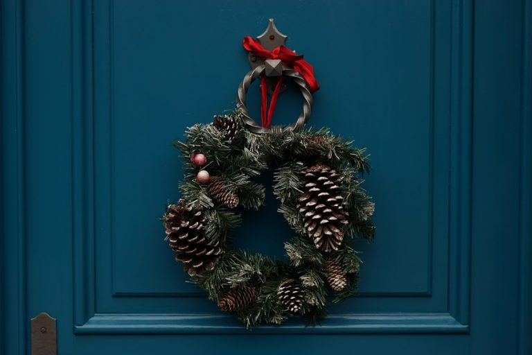 Festive wreath on door