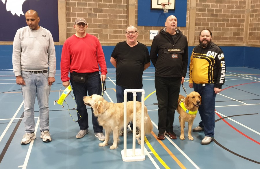 Our SVI cricketers with their guide dogs
