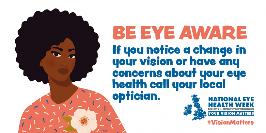 Be eye aware. If you notice a change in our vision or have concerns about your eye health call your optician #eyeweek