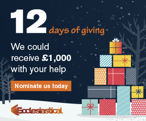 Image text: 12 days of giving. We could receive £1,000 with your help. Nominate us today.