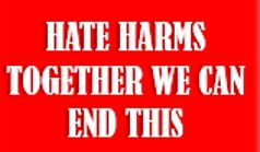 Hate Harms logo, saying Hate Harms, together we can end this.